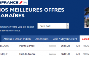 Air France : Guadeloupe ou Martinique aller/retour à 368 €