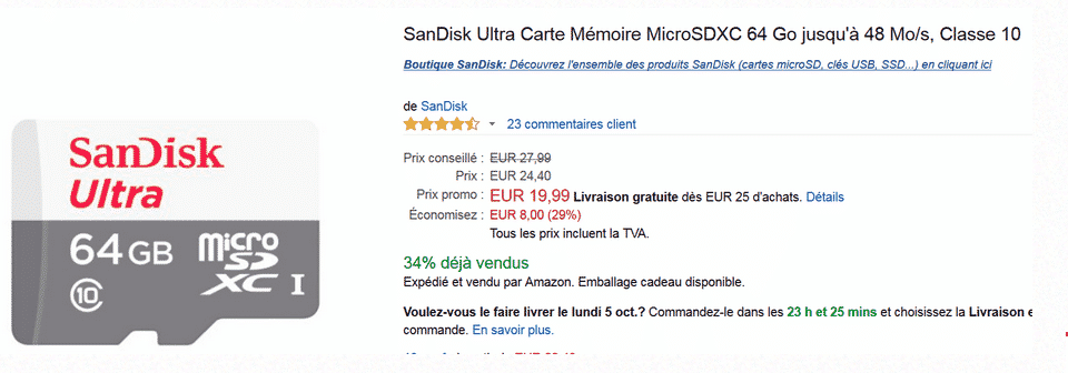 Micro SD  SanDisk 64 Go à 19,99 € sur Amazon