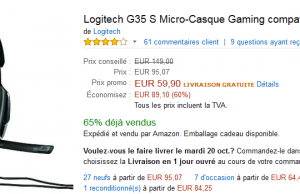 Casque gaming compatible PC/PS4 Logitech G35S à 59,90 € au lieu de 149 € sur Amazon
