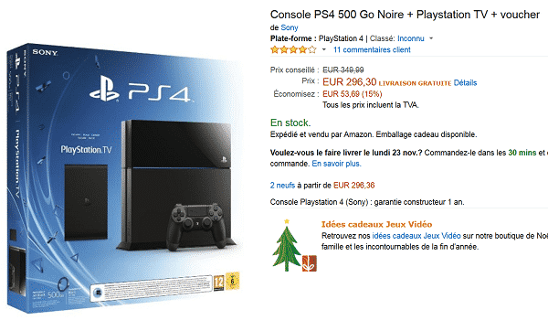 ps4 500 go ps tv voucher 296 sur amazon le bon plan. Black Bedroom Furniture Sets. Home Design Ideas