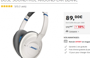Darty : Casque Audio Bose Soundtrue à 89 € au lieu de 179 € (-50%)
