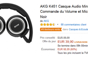 2 casques audio en promotion sur Amazon : Sony MDR-V55B à 40,99 € (-41%) et AKG 451 à 39,90 € (-60%)