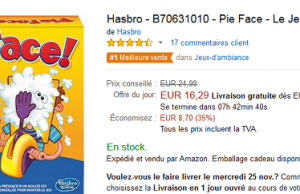 Jeu Pie Face à 16,29 € au lieu de 24,99 € sur Amazon