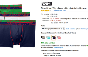 Lot de 3 boxers Dim à 11,80 € sur Amazon (-50%)