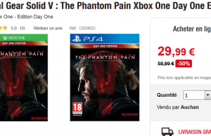 [Black Friday] Metal Gear Solid 5 The Phantom Pain sur PS4 et Xbox One à 29,99 € chez Auchan (Livraison gratuite)
