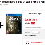 Console PS4 + Fallout 4 + God Of War 3 à 349,99 €