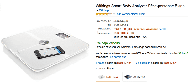 Pèse personne connecté Withings Smart Body à 119 € au lieu de 149 €