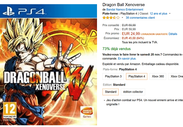 [Black Friday] Dragon Ball Xenoverse  sur PS4 et Xbox one à 24,99 € au lieu de 69,99 €