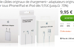Groupon : câble officiel de chargement Apple à 9,95 € (iPhone 4/4S) et 12,95 € (iPhone 5,5C, 5S, 6, 6S, 6S+)