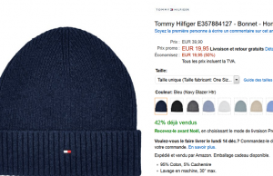 Vente Flash Amazon : bonnet Tommy Hilfiger à 19,90 € au lieu de 39,90 € (-50%)