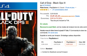 Call of Duty : Black Ops III + Steelbook à 45 € sur PS4 et Xbox One et 29,99 € sur PS3