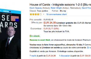 Coffret Blu Ray The Walking Dead, Breaking Bad et House of Cards en promo sur Amazon
