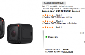 Boulanger : GoPro Hero4 Session + kit de fixation à 219  € au lieu de 368 € (-41%)
