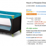 Vente Flash Amazon : Lit Parapluie Hauck  à 27,90 € au lieu de 49,99 €