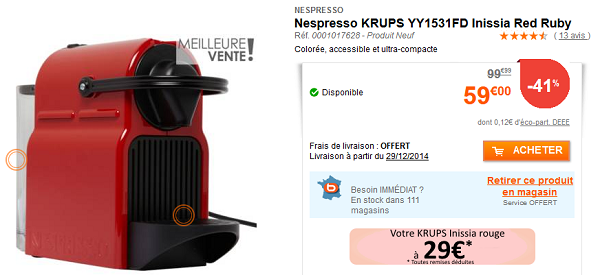 boulanger nespresso krups inissia 29 offre de remboursement de 30 le bon plan. Black Bedroom Furniture Sets. Home Design Ideas