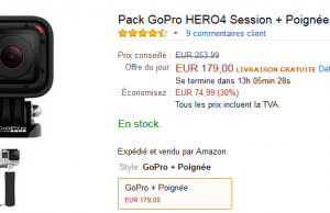 Vente Flash Amazon : GoPro Hero4 Session à 179 €