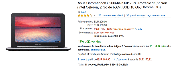 PC Portable Asus Chromebook C200MA à 169,90 € au lieu de 299 € (-43%)