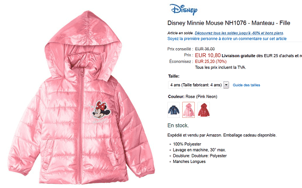 doudoune-disney-minnie-en-promotion-sur-amazon