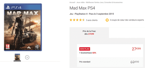 fnac jeu ps4 mad max 27 99 au lieu de 69 90 60 et livraison gratuite le bon plan. Black Bedroom Furniture Sets. Home Design Ideas
