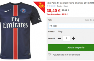 Maillot du Paris Saint Germain (adulte et enfant) en promotion