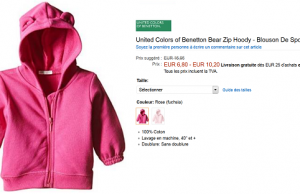 Sweat United Colors of Benetton pour bébé (1 à 12 mois) à 6,80 € au lieu de 16,95 € (-60%)