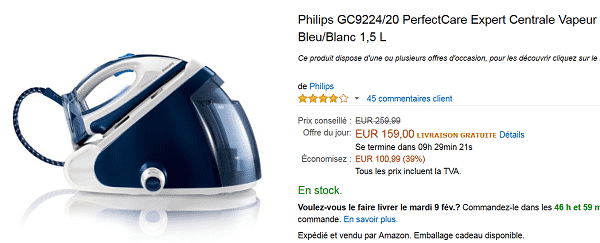 central-vapeur-philips-perfect-care-vente-flash