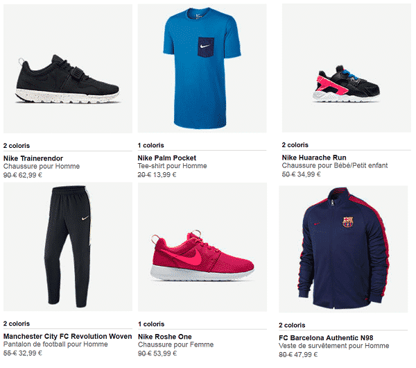 Articles Nike en Promotion