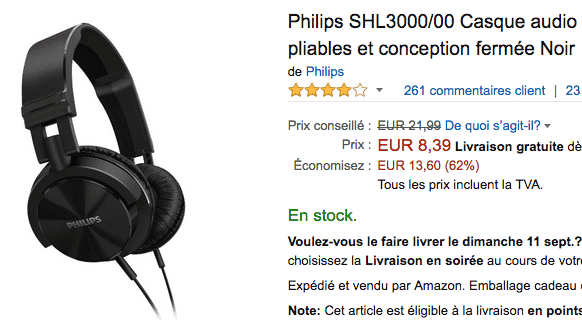 casque audio philips shl3000 en promotion sur amazon. Black Bedroom Furniture Sets. Home Design Ideas