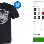 5 t-shirts Everlast à 12 €