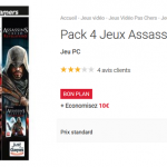 Pack 4 jeux Assassin's Creed sur PC à 9,99 €