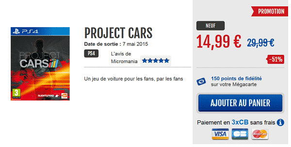 Project Cars en promotion chez Micromania
