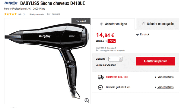 s che cheveux babyliss pas cher chez auchan. Black Bedroom Furniture Sets. Home Design Ideas