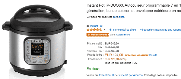 [Premium Day Amazon] Autocuiseur programmable 7 en 1 Instant Pot à 124.99 € au lieu de 249.99 €