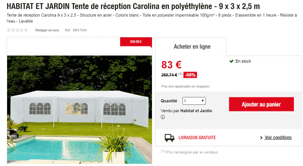 tente de r ception carolina en poly thyl ne 83 au lieu de 68 chez auchan. Black Bedroom Furniture Sets. Home Design Ideas