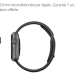 Apple Watch reconditionnée par Apple,  Garantie 1 an à 199 € (38mm) ou 229 € (42mm)