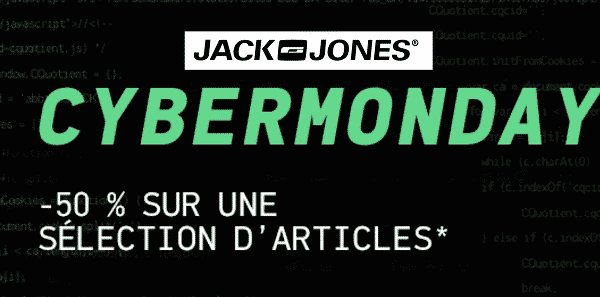 Cyber Monday Jack & Jones : -50% sur une sélection d'articles (Manteau, Pull, Sweat…)