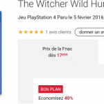 Le jeu The Witcher 3 Wild Hunt sur PS4 à 17,99 € sur la Fnac.com