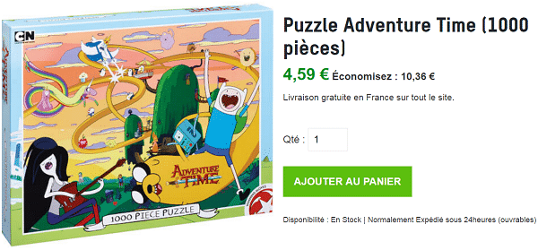 puzzle adventure time 1000 pi ces 4 59 au lieu de 14 95 livraison gratuite. Black Bedroom Furniture Sets. Home Design Ideas