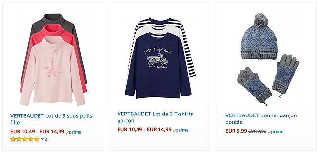 Déstockage vêtements Vertbaudet sur Amazon