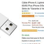 Câble iPhone Lightning  à 3,48 € (-75%)