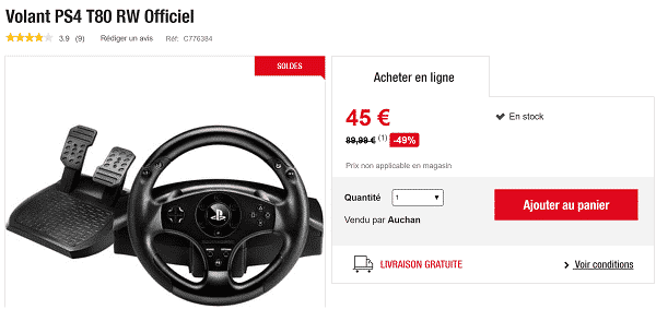 Volant officiel PS4 T80 Racing Wheel à 45 € (-49%)