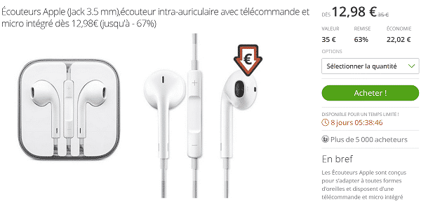couteur earpods d 39 apple en promotion chez groupon. Black Bedroom Furniture Sets. Home Design Ideas