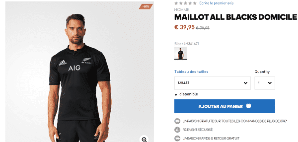 Maillot All Blacks pas cher