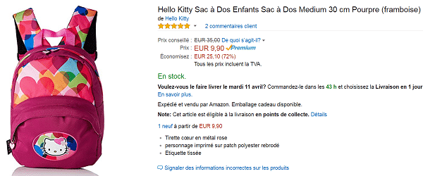 Sac à dos Hello Kitty en promotion