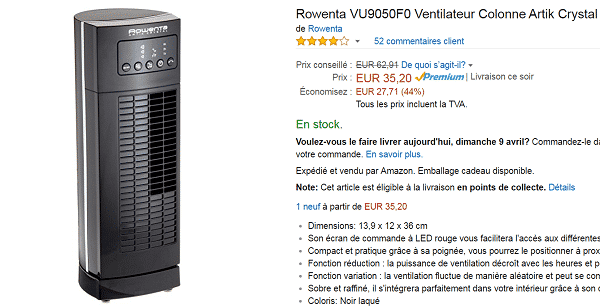 ventilateur rowenta pas cher sur amazon 44. Black Bedroom Furniture Sets. Home Design Ideas