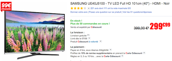 TV Samsung led en promotion