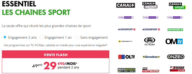Vente Flash : Pack Chaine Sport Canal BeIN