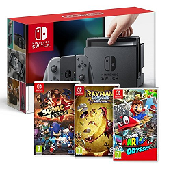 Nintendo Switch + 3 jeux (Mario Odysee, Sonic Force et Rayman Legends) à 359 € sur Amazon
