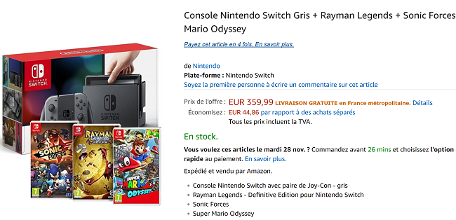 Pack Nintendo Switch en promotion