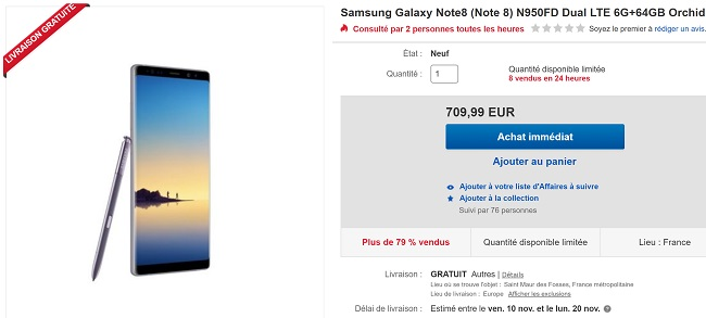 Samsung Galaxy Note 8 pas cher